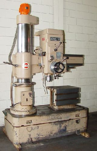 Radial Arm Drills - 3 Arm Lth 9 Col Dia Ikeda RMS-9 RADIAL DRILL, 3 HP,#4MT, Box Tbl,Power El